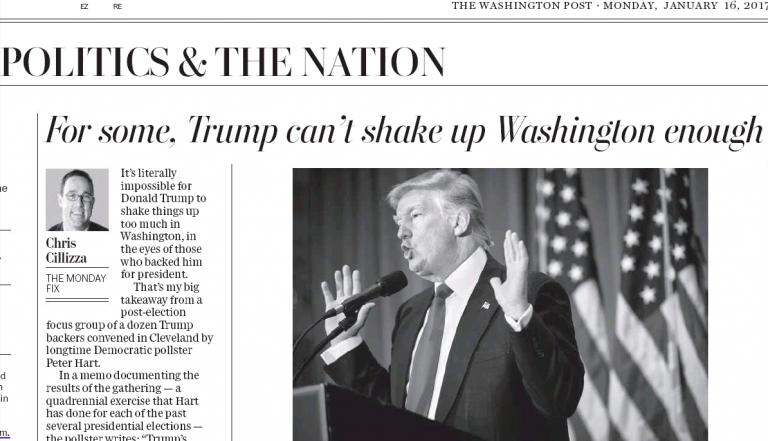 """Washington Post sagaida, ka jaunievēlētais prezidents """"satricinās"""" Vašingtonu"""