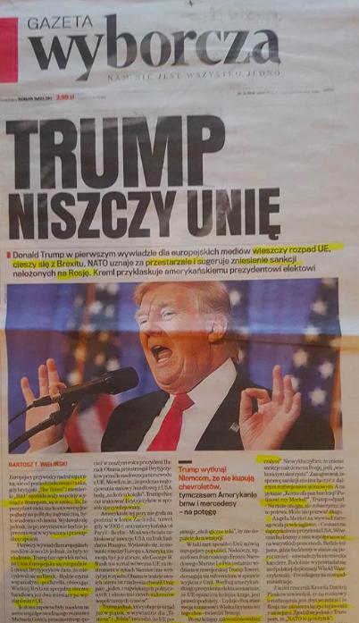 """Gazeta Wyborcza: """"Tramps sabojā savienību"""""""